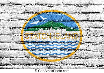 eiland, usa, geverfde, staten, muur, vlag, new york,...