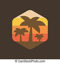 eiland, vakantie, palm, ondergaande zon , illustratie