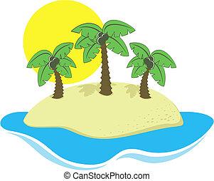 eiland, vector, spotprent