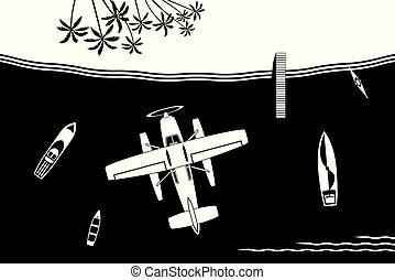 eiland, vliegen, seaplane, zee