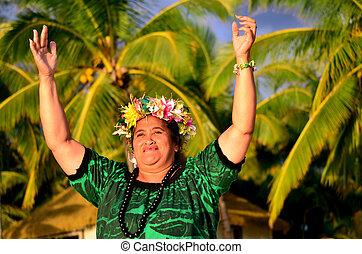eiland, vrouw, polynesiër, pacific, middelbare leeftijd