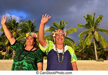 eiland, vrouwen, polynesiër, pacific, middelbare leeftijd