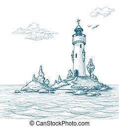 eiland, vuurtoren, zee