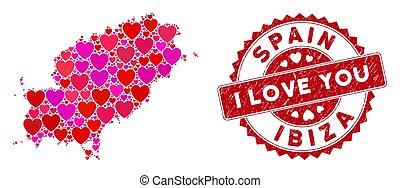 eiland, watermark, nood, valentijn, collage, kaart, ibiza, hart