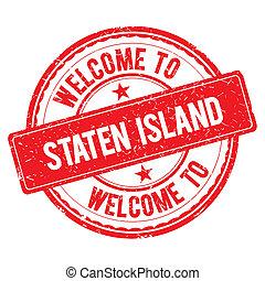 eiland, welkom, staten, stamp.
