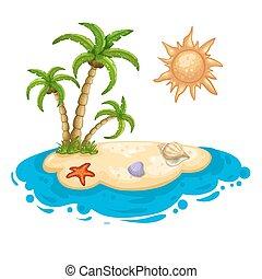 eiland, woestijn, illustratie