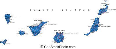 eilanden, kanarie, kaart