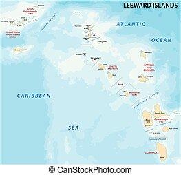 eilanden, leeward, kaart