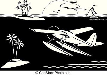 eilanden, vliegen, seaplane, zee