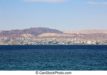 Eilat Gulf of Aqaba - Eilat at the Gulf of Aqaba, seen from...