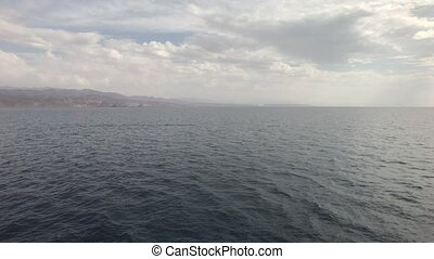 Eilat, Israel - Walk on the sea on a tourist ship before the rain part 9 4K