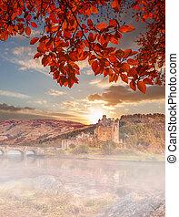 Eilean Donan Castle against autumn leaves in Highlands of Scotland