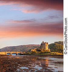 Eilean Donan Castle against sunset in Highlands of Scotland