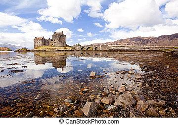Eilean Donan Castle, Highland Scotland - Reflection of...