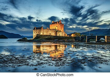 Eilean Donan Castle in Scotland during blue hour