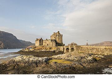 Eilean Donan Castle on Loch Duich in Scotland.