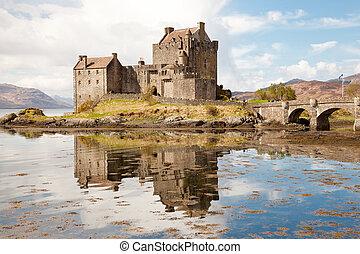 Eilean Donan Castle - Closeup of Reflection of Eilean Donan...