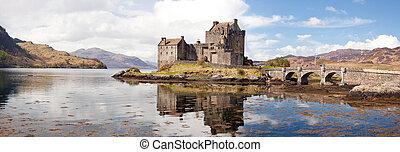 eilean, věž, donan, skotsko, panoráma