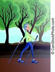 ein, älterer mann, üben, nordisch, gehen, outdoors., aktiver lebensstil, und, sport, tätigkeiten, in, altes , age., vektor, illustration.