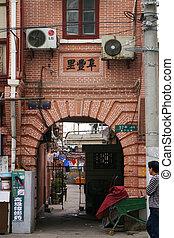 ein, altes , straße, in, shanghai, china.