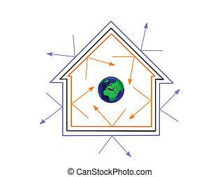 ein, energieeffizienz, begriff, vektor, abbildung