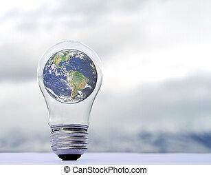 ein, erde, in, a, lightbulb, auf, a, natürlich, hintergrund