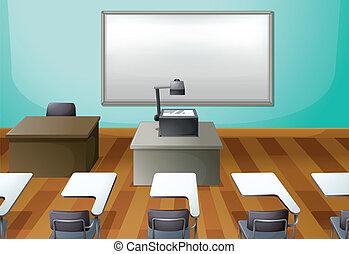 ein, leerer , klassenzimmer