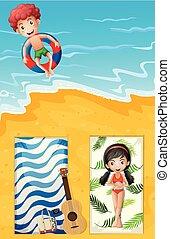 ein, luftblick, von, sommer, sandstrand