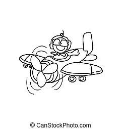 einbildungskraft, hand, zeichnung, karikatur