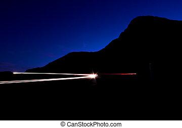 einbruch der nacht, an, der, lichtgeschwindigkeit