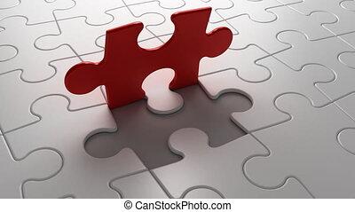 eind-, puzzelstuk, dalingen, in, plek