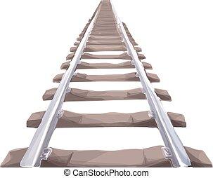 eindeloos, trein, track.