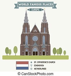 eindhoven, rue., pays-bas, church., catherines