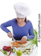 eine Frau, die kochen kann