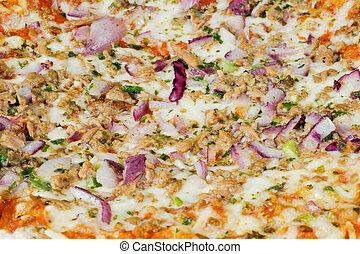 Pizza - Eine Pizza. Belegt mit Thunfisch und Zwiebeln.
