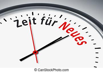 Uhr mit Text - Eine Uhr mit Text Zeit für Neues