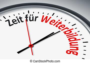 Uhr mit Text - Eine Uhr mit Text Zeit für Weiterbildung
