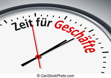 Uhr mit Text - Eine Uhr mit Text Zeit fuer Geschaefte