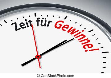 Uhr mit Text - Eine Uhr mit Text Zeit fuer Gewinne