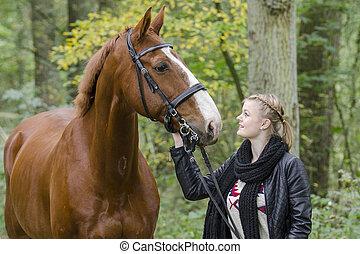 einem,  pferd, was,  auge