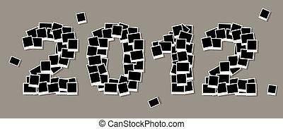 einfügen, fotos, 2012, jahr, rahmen, neu , dein, karte