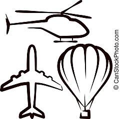 einfache , abbildung, transport, luft