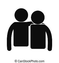 einfache , freundschaft, schwarz, ikone