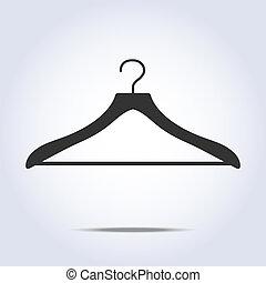 einfache , kleiderbügel, vektor, ikone