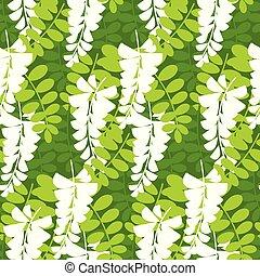 einfache , pattern., baum, seamless, blüte, akazie