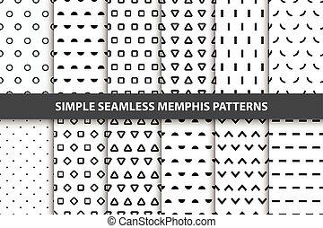 einfache , patterns., seamless, sammlung, geometrisch, memphis, design.
