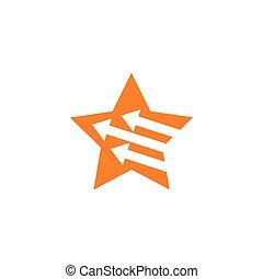 einfache , pfeil, geometrisch, vektor, logo, stern, bewegung