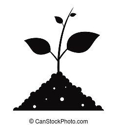 einfache , pflanzenkeim, boden, schwarz, ikone