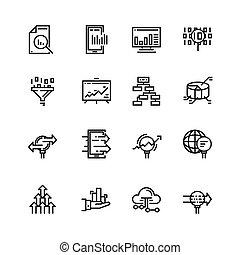 einfache , satz, von, daten, analyse, verwandt, vektor, linie, icons., enthält, solch, heiligenbilder, als, tabellen, schaubilder, verkehr, analyse, groß, daten, und, more., 48x48, pixel, perfect.