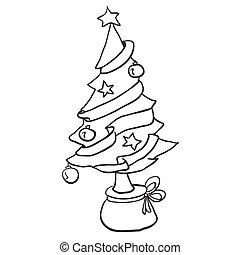 Weihnachtsbaum Schwarz Weiß.Baum Weißes Schwarz Weihnachten Wenig Bild Baum Karikatur